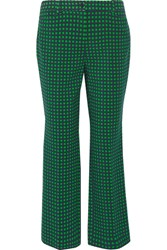 Michael Kors Collection Polka Dot Stretch Wool Straight Leg Pants Green