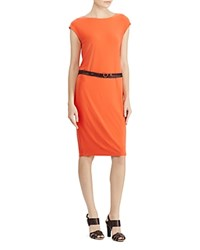Ralph Lauren Belted Jersey Dress Sunset Orange