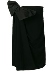 Saint Laurent Bow Strapless Fitted Dress Black