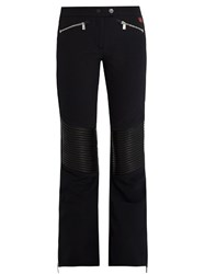 Toni Sailer Carla Leather Paneled Flared Ski Trousers Black