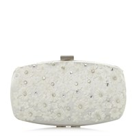 Roland Cartier Blooming Floral Trim Clutch Bag White