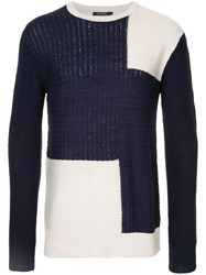 Guild Prime Panelled Crew Neck Jumper Acrylic Nylon Wool Blue