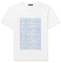 Frescobol Carioca Slim Fit Printed Cotton Jersey T Shirt White