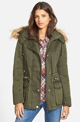 Guess Hooded Cotton Field Jacket With Faux Fur Trim Olive