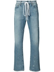Off White Baggy Distressed Jeans Men Cotton Wool Polyacrylic 32 Blue