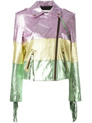 Philosophy Di Lorenzo Serafini Colour Block Biker Jacket Pink Purple
