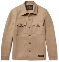 Neighborhood Wool Blend Flannel Overshirt Sand