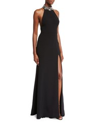 Marchesa Sleeveless Embellished Ponte Gown Black Black Gold