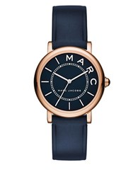 Marc Jacobs Roxy Rose Goldtone Stainless Steel And Leather Navy Satin Dial Strap Watch Navy Blue