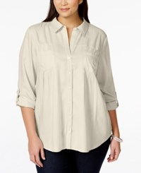 Styleandco. Style And Co. Plus Size Button Down Roll Tab Sleeve Blouse Only At Macy's