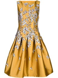 Oscar De La Renta Floral Print Flared Dress Gold