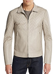 Emporio Armani Perforated Leather Jacket Sand