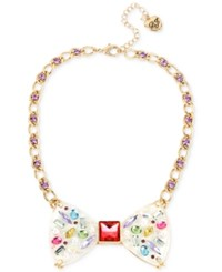 Betsey Johnson Gold Tone Multi Stone And Crystal Bow Tie Collar Necklace