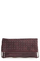 Sole Society 'Gamble' Grommet Faux Leather Flap Clutch Red Wine