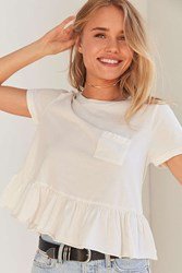 Truly Madly Deeply Babydoll Peplum Tee White