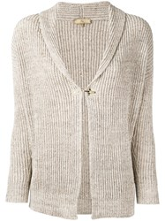 Fay Ribbed Knit Cardigan Women Cotton Linen Flax Xs Nude Neutrals