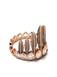 Kismet By Milka 14Kt Rose Gold Diamond Feathered Headdress Ring