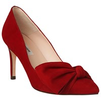 Lk Bennett L.K. Caitlyn Bow Stiletto Heeled Court Shoes Roca Red Suede