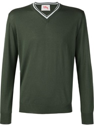 Orley Ribbed V Neck Sweater Green