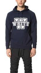 White Mountaineering W Fleece Lined Hoodie Navy