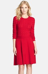 Women's Eliza J Chevron Fit And Flare Sweater Dress Red