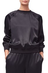 Good American Satin Crewneck Top Black001