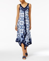 Style And Co Petite Printed Handkerchief Hem Maxi Dress Only At Macy's Beach Blue