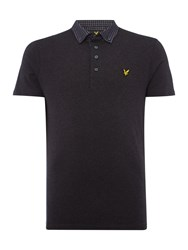 Lyle And Scott Men's Short Sleeve Woven Collar Jersey Polo Shirt Charcoal Marl