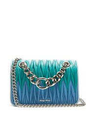 Miu Miu Contrast Panel Matelasse Leather Cross Body Bag Blue Multi