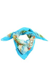Dsquared Hawaii Printed Cotton Scarf Multi Blue