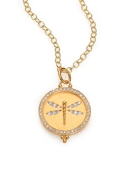 Temple St. Clair Tree Of Life Diamond And 18K Yellow Gold Dragonfly Cutout Disc Pendant