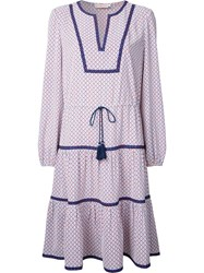 Tory Burch Contrast Hem Patterned Shirt Dress White