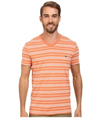 Lacoste Jersey Short Sleeve V Neck Striped Tee Shirt Candlelight Chine White Men's T Shirt Orange