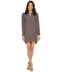 1.State Long Sleeve Lace Up Shift Dress Carbon Crystal Women's Dress Gray
