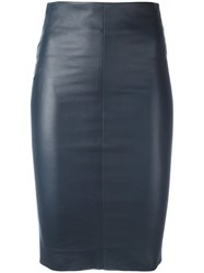 Drome Midi Fitted Skirt Blue