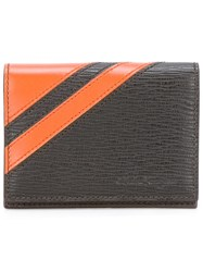 Salvatore Ferragamo Textured Stripe Accent Wallet Black
