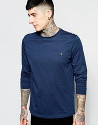 Farah Long Sleeve T Shirt With F Logo In Reg Fit Navy