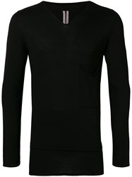 Rick Owens V Neck Sweater Black