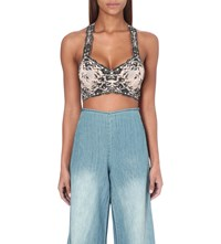 Free People Wild Roses Floral Lace Bralet Champagne Black
