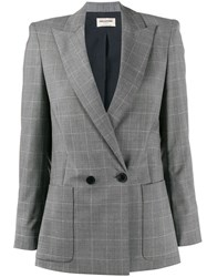 Zadig And Voltaire Double Breasted Check Blazer Grey