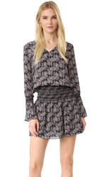 Derek Lam Long Sleeve V Neck Dress With Smocked Skirt Black Multi