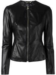 Philipp Plein Fitted Leather Jacket Black