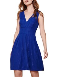 Yumi Metallic Stitch Skater Dress Royal Blue