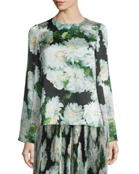 Adam By Adam Lippes Bell Sleeve Floral Print Blouse White Dahlia