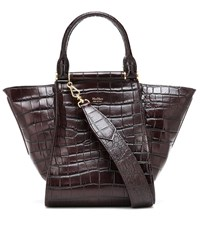 Max Mara Anita S Croc Effect Leather Tote Brown