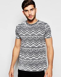 Asos T Shirt With Burnout Wash And Geo Tribal Print In Gray Greyecru