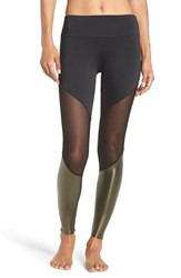 Onzie Women's Colorblock Track Leggings Black Mesh Khaki