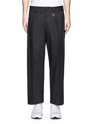 Christopher Kane Logo Charm Pleated Wide Leg Pants Grey