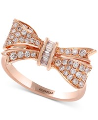 Effy Pave Rose By Diamond Bow Ring 3 8 Ct. T.W. In 14K Rose Gold