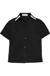 Tanya Taylor Robbie Cotton Poplin Top Black